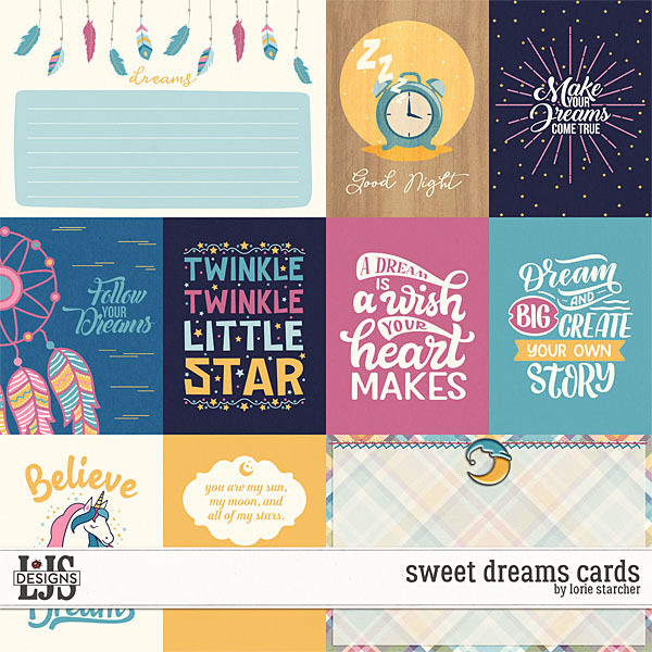 Sweet Dreams Cards Digital Art - Digital Scrapbooking Kits