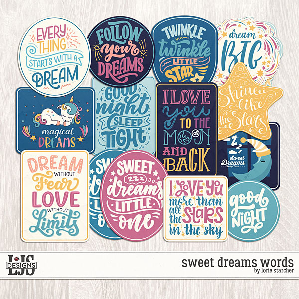 Sweet Dreams Words Digital Art - Digital Scrapbooking Kits