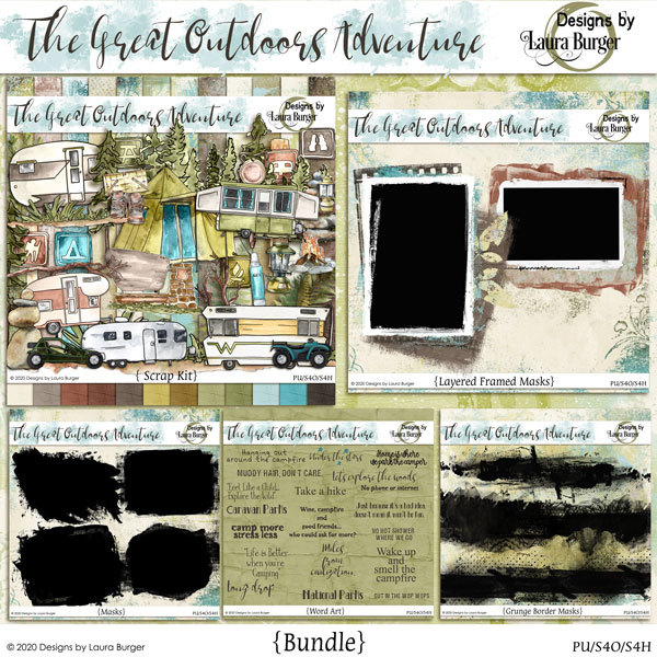 The Great Outdoors Adventure Bundle Digital Art - Digital Scrapbooking Kits