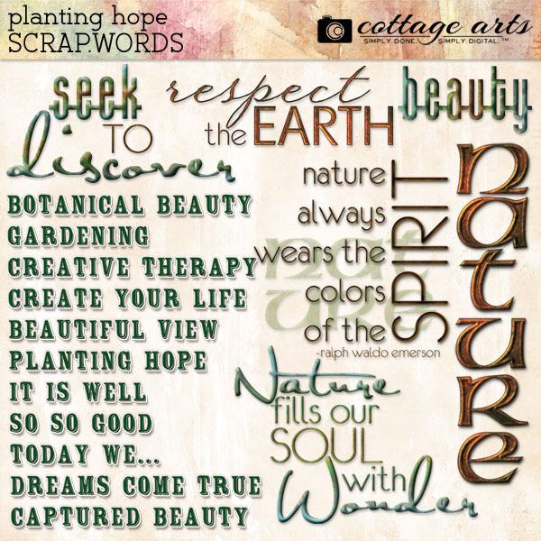 Planting Hope Scrap.Words Digital Art - Digital Scrapbooking Kits