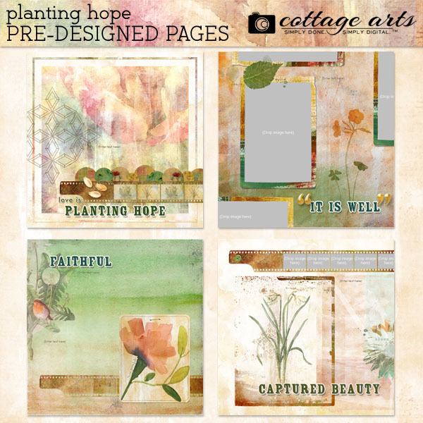 Planting Hope Pre-designed Pages Digital Art - Digital Scrapbooking Kits