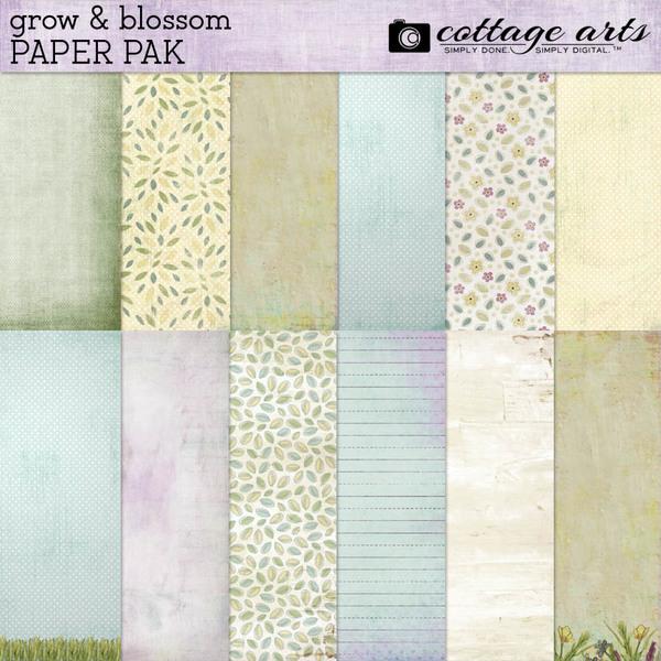 Grow & Blossom Paper Pak Digital Art - Digital Scrapbooking Kits