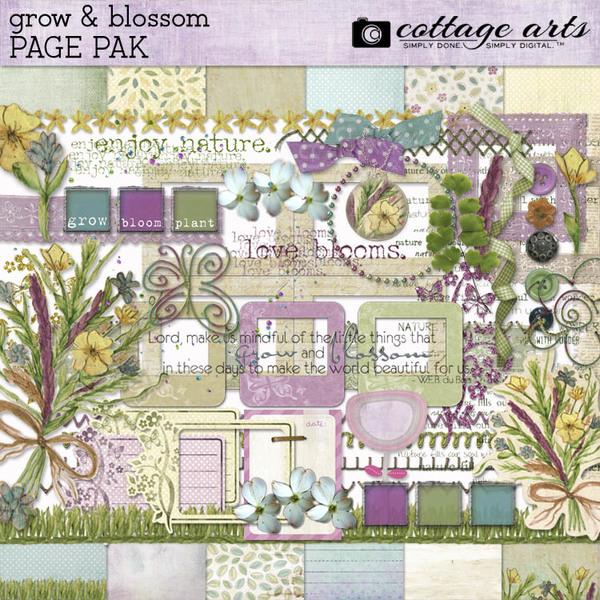 Grow & Blossom Page Pak Digital Art - Digital Scrapbooking Kits