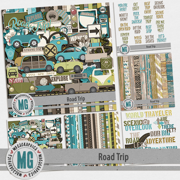 Road Trip Bundle Digital Art - Digital Scrapbooking Kits