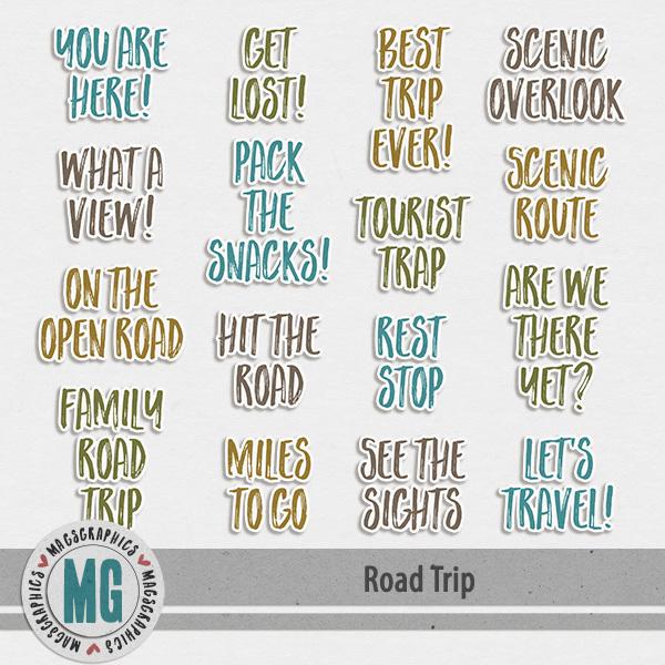 Road Trip Stickers Digital Art - Digital Scrapbooking Kits