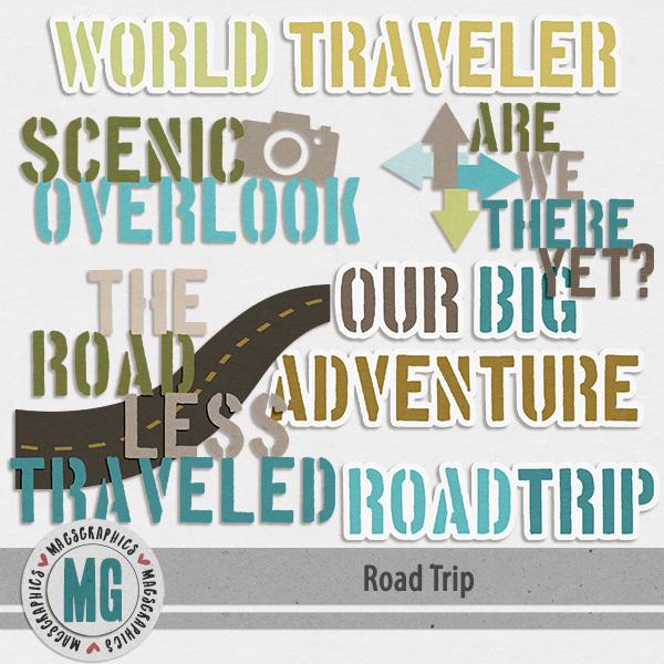 Road Trip Word Art Digital Art - Digital Scrapbooking Kits