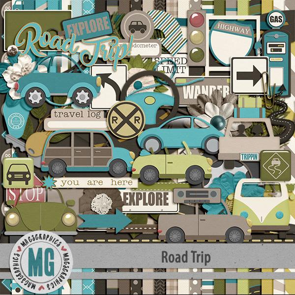 Road Trip Kit Digital Art - Digital Scrapbooking Kits