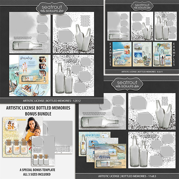 Artistic License Bottled Memories Bonus Bundle Digital Art - Digital Scrapbooking Kits