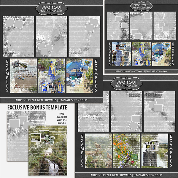 Artistic License Graffiti Walls Bonus Bundle 8.5x11 Digital Art - Digital Scrapbooking Kits