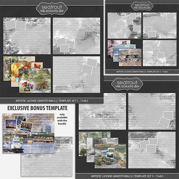 Artistic License Graffiti Walls Bonus Bundle 11x8.5 Digital Art - Digital Scrapbooking Kits