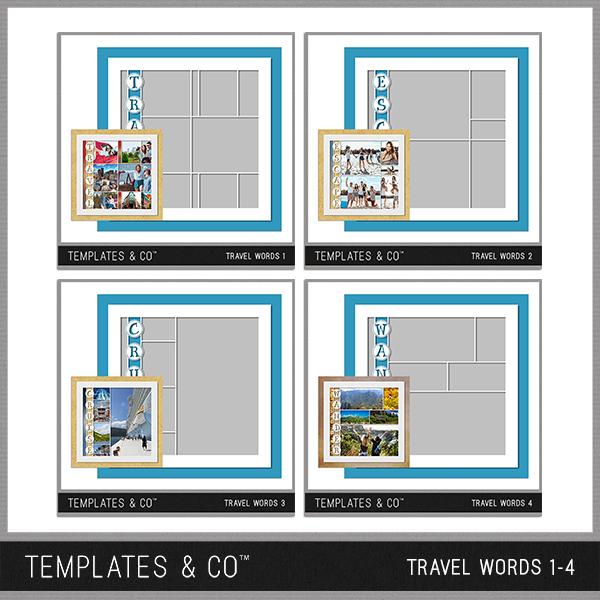 Travel Words 1-4 Digital Art - Digital Scrapbooking Kits