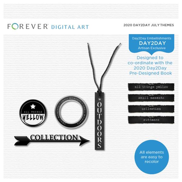 2020 Day2Day July Themes Digital Art - Digital Scrapbooking Kits