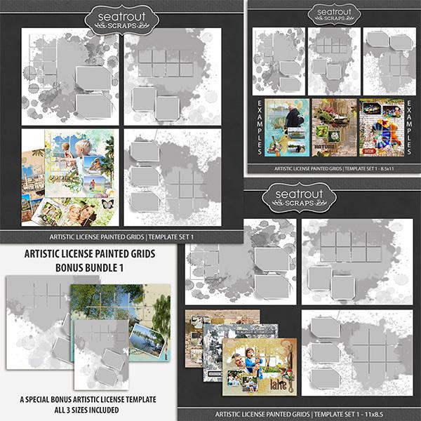 Artistic License Painted Grids Bonus Bundle Digital Art - Digital Scrapbooking Kits