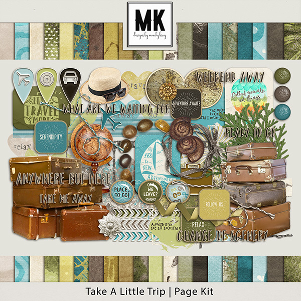 Take A Little Trip Page Kit Digital Art - Digital Scrapbooking Kits