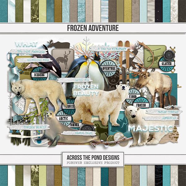 Frozen Adventure Page Kit Digital Art - Digital Scrapbooking Kits