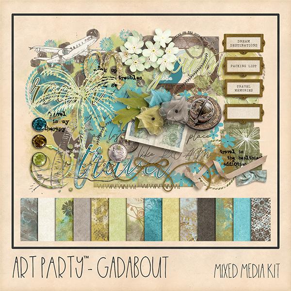 Gadabout Mixed Media Kit Digital Art - Digital Scrapbooking Kits