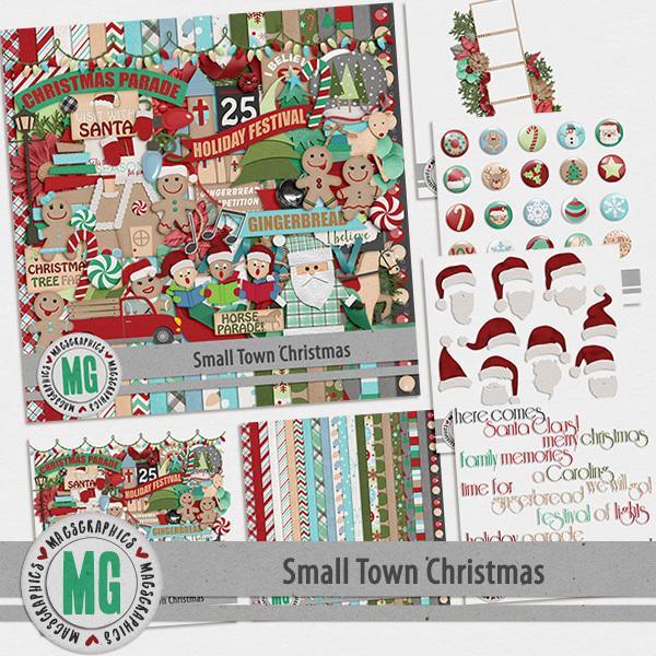 Small Town Christmas Bundle Digital Art - Digital Scrapbooking Kits