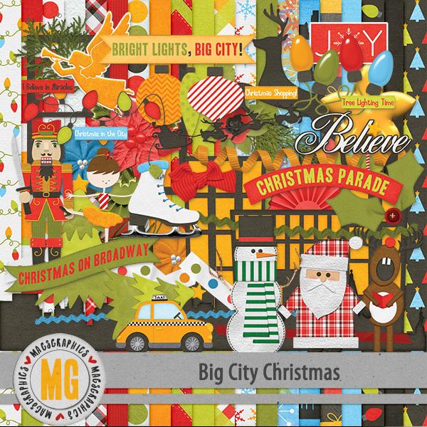 Big City Christmas Kit Digital Art - Digital Scrapbooking Kits