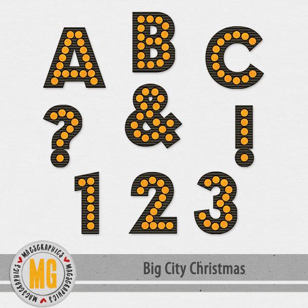 Big City Christmas Alpha Digital Art - Digital Scrapbooking Kits