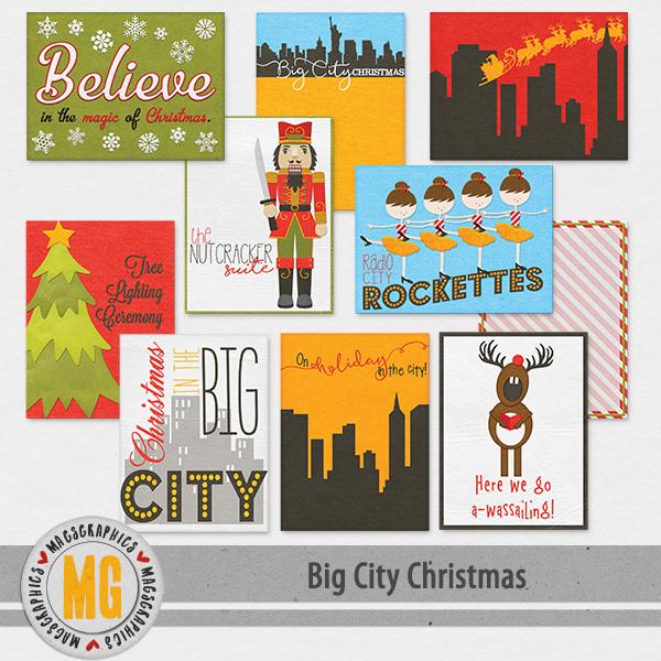 Big City Christmas Journal Cards Digital Art - Digital Scrapbooking Kits