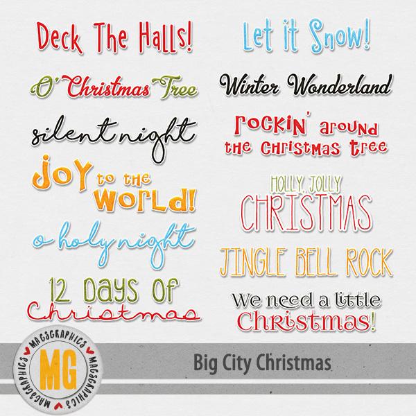 Big CIty Christmas Song Titles Digital Art - Digital Scrapbooking Kits