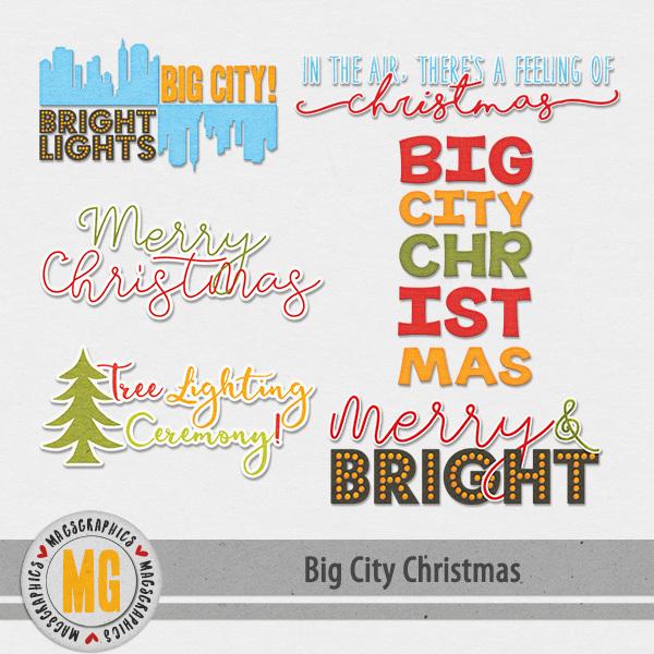 Big City Christmas Word Art Digital Art - Digital Scrapbooking Kits