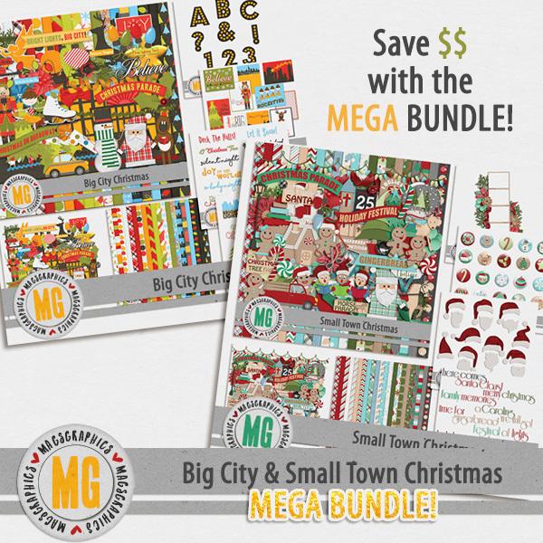 Big City & Small Town Christmas MEGA Bundle Digital Art - Digital Scrapbooking Kits