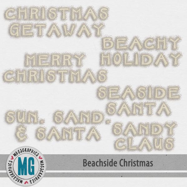 Beachside Christmas Word Art Digital Art - Digital Scrapbooking Kits