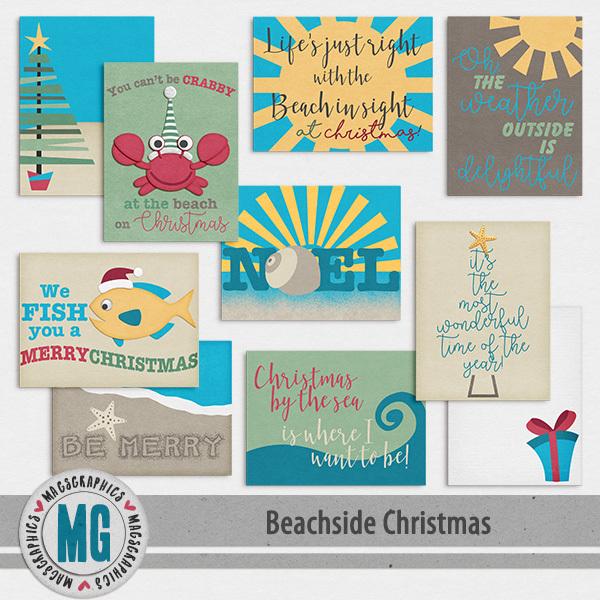 Beachside Christmas Journal Cards Digital Art - Digital Scrapbooking Kits