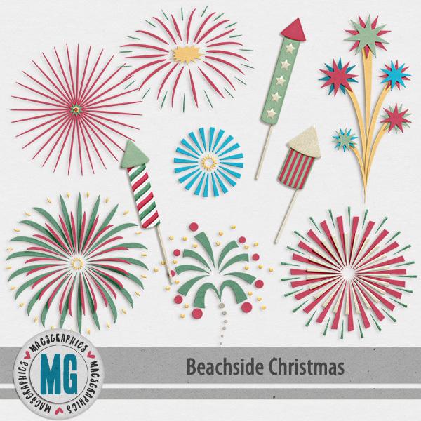 Beachside Christmas FIreworks Pack Digital Art - Digital Scrapbooking Kits