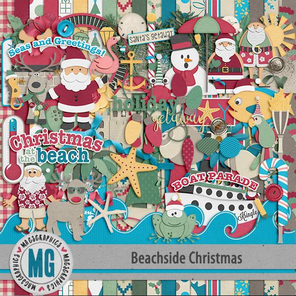 Beachside Christmas Kit Digital Art - Digital Scrapbooking Kits