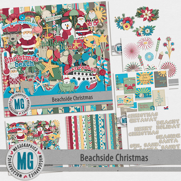 Beachside Christmas Bundle Digital Art - Digital Scrapbooking Kits