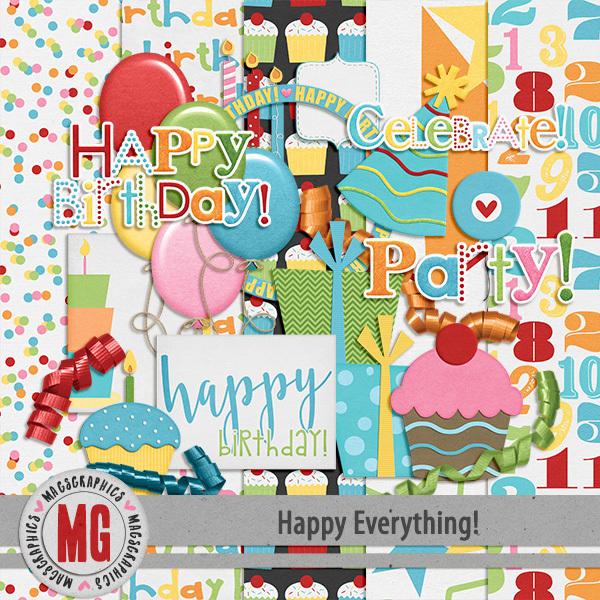Happy Everything Birthday Pack Digital Art - Digital Scrapbooking Kits