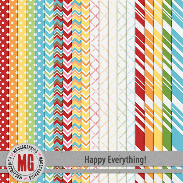 Happy Everything Extra Papers Digital Art - Digital Scrapbooking Kits