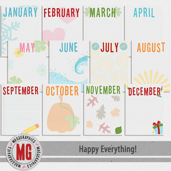 Happy Everything Journal Cards Digital Art - Digital Scrapbooking Kits