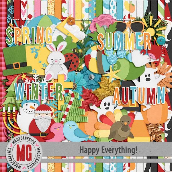 Happy Everything Kit Digital Art - Digital Scrapbooking Kits