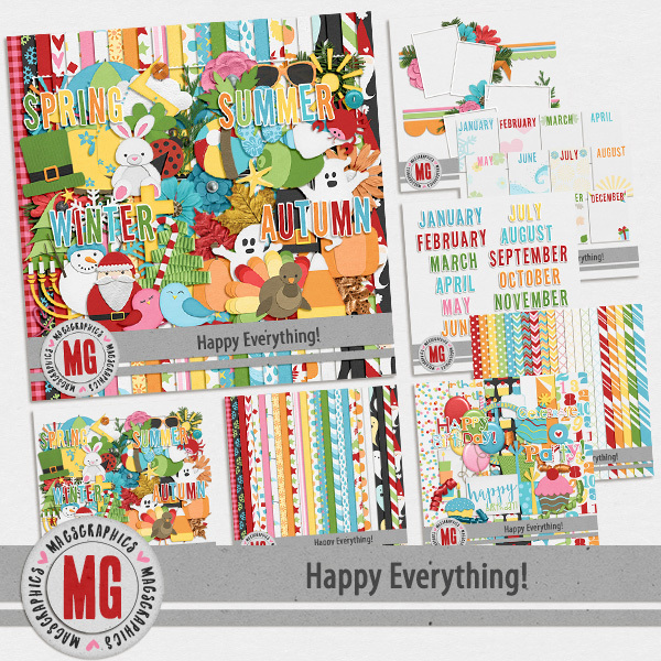 Happy Everything Bundle Digital Art - Digital Scrapbooking Kits