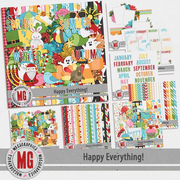 Happy Everything Bundle Digital Art - Digital Scrapbooking Kits