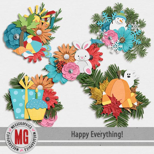 Happy Everything Clusters Digital Art - Digital Scrapbooking Kits
