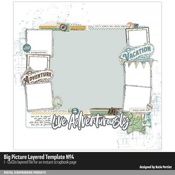 Big Picture Layered Templates No. 04 Digital Art - Digital Scrapbooking Kits