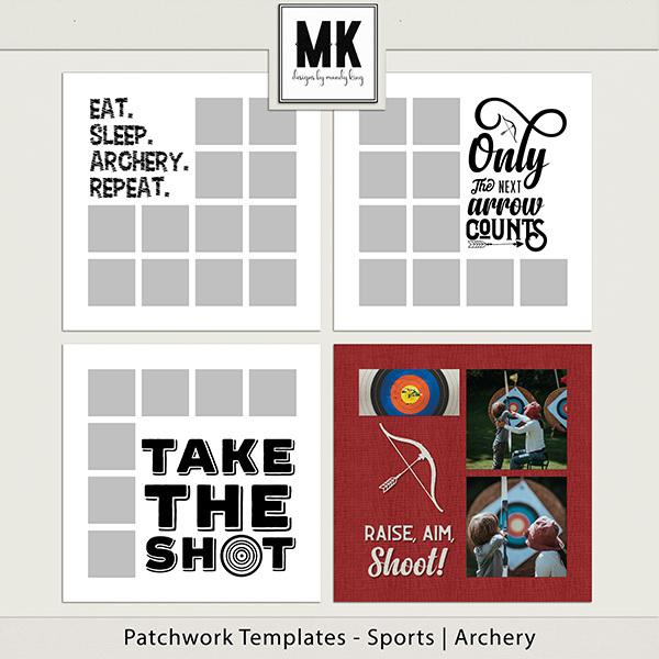 Patchwork Templates - Sports - Archery Digital Art - Digital Scrapbooking Kits