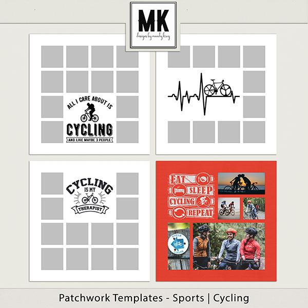 Patchwork Templates - Sports - Cycling Digital Art - Digital Scrapbooking Kits