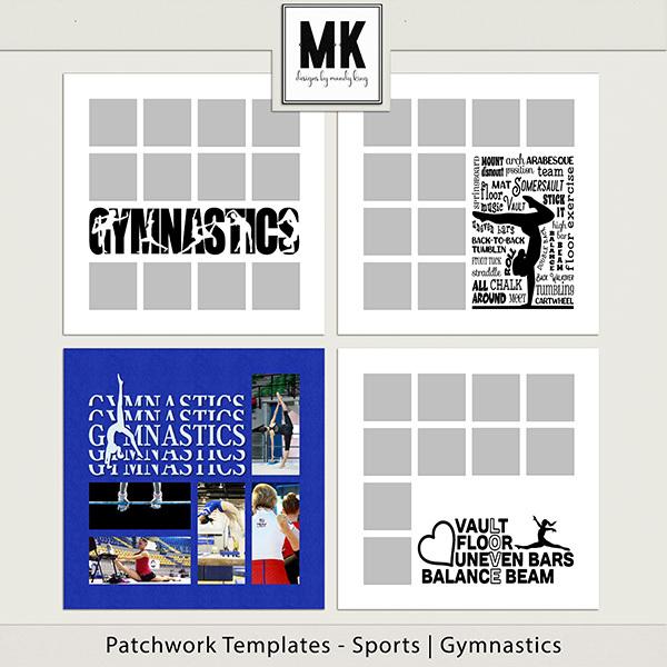 Patchwork Templates - Sports - Gymnastics Digital Art - Digital Scrapbooking Kits