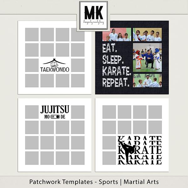 Patchwork Templates - Sports - Martial Arts Digital Art - Digital Scrapbooking Kits