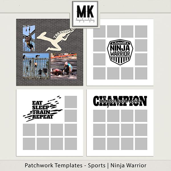 Patchwork Templates - Sports - Ninja Warrior Digital Art - Digital Scrapbooking Kits