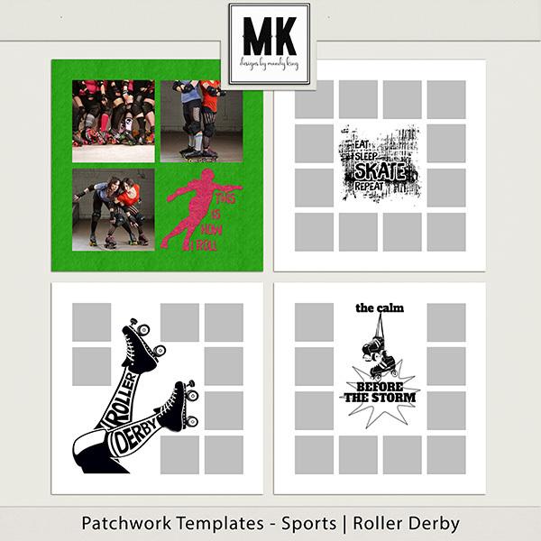 Patchwork Templates - Sports - Roller Derby Digital Art - Digital Scrapbooking Kits