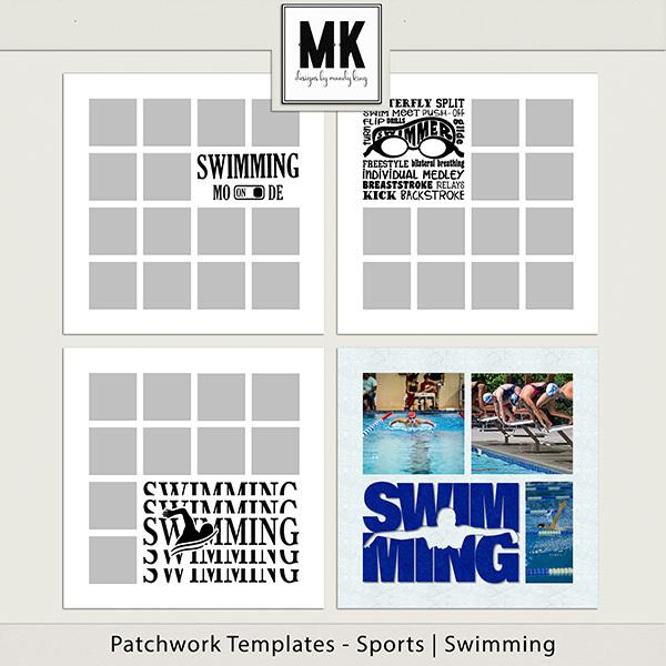 Patchwork Templates - Sports - Swimming Digital Art - Digital Scrapbooking Kits