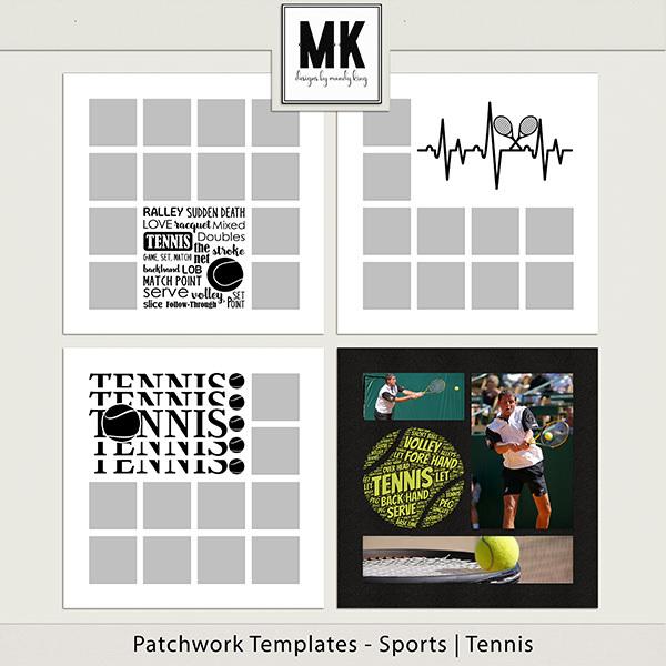 Patchwork Templates - Sports - Tennis Digital Art - Digital Scrapbooking Kits