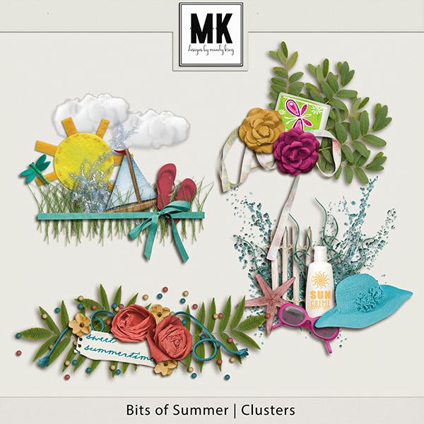 Bits of Summer - Clusters Digital Art - Digital Scrapbooking Kits