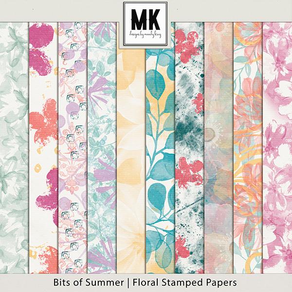 Bits of Summer - Floral Stamped Papers Digital Art - Digital Scrapbooking Kits